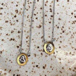 Escapulário Oval - Prata com Dourado