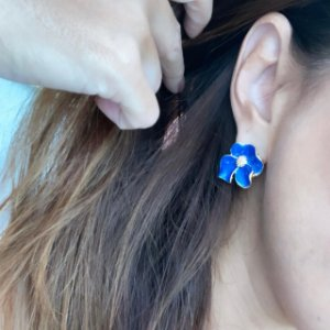 Brinco Flor Camélia - Azul