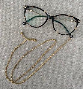 Porta Óculos Corrente - Dourada
