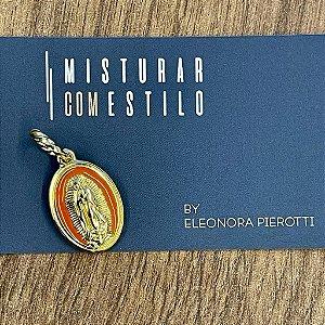 Medalha Nossa Senhora de Guadalupe - Laranja - Dourada