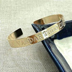Bracelete - Vai Dar Tudo Certo - Dourado Liso