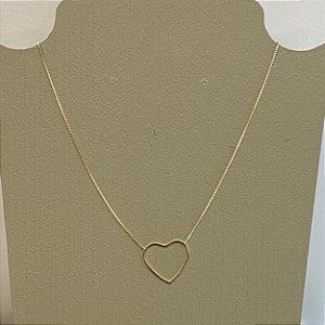 Colar Coração Vazado - P - Dourado