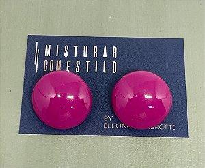 Brinco Botão - Rosa - Pressão