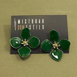 Brinco Flor Quatro Pétalas Grande - Verde