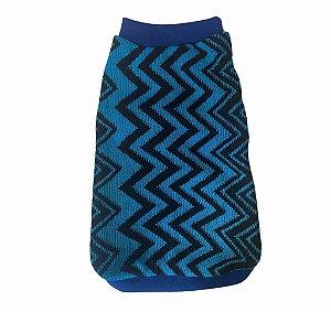 Suéter em Tricô Geométrico Azul