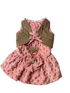 Vestido pelo rosa com colete