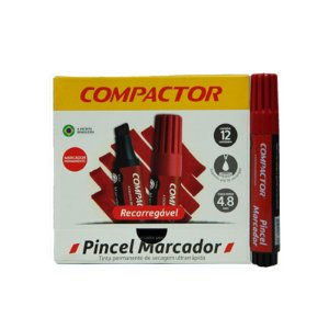 PINCEL MARCADOR AVULSO VERMELHA COMPACTOR RECARREGÁVEL