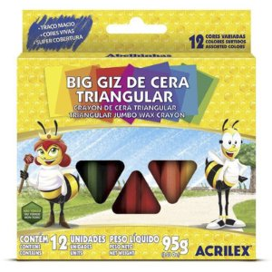 BIG GIZ DE CERA TRIANGULAR 12 CORES