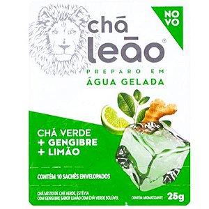 CHÁ MATE LEÃO VERDE + GENGIBRE SABOR LIMÃO 25G PREPARO EM ÁGUA GELADA