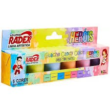 TINTA GUACHE CANDY COLOR 6 CORES RADEX