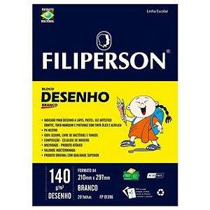 BLOCO DESENHO A4 140G C/20FOLHAS BRANCO FILIPERSON