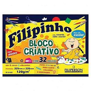 BLOCO CRIATIVO C//32 FOLHAS 8 CORES 120G FILIPINHO