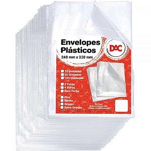 ENVELOPE PLASTICO DAC C/4 FUROS GROSSO