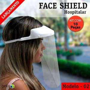 FACE SHIELD MODELO 2 – HOSPITALAR - KIT COM 10 PEÇAS