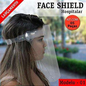 FACE SHIELD MODELO 1 – HOSPITALAR - KIT COM 5 PEÇAS