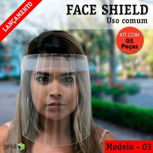 FACE SHIELD MODELO 3 – USO COMUM - KIT COM 5 PEÇAS