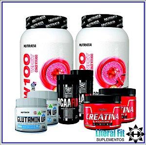 Combo Dupla Densidade Muscular (Whey, Creatina, BCAA e Glutamina)