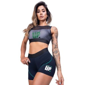 Top Fitness Poliamida Honey Be Up Uv 50+ - Tule Preto