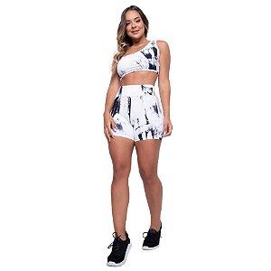 Short Poliamida Tie Dye - Preto e Branco