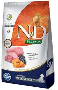 N&D Pumpkin Cão Filhote Raças Médias Cordeiro/Abobora/Bluberry 10,1kg
