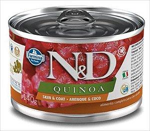 N&D Quinoa Caes Lata Skin & Coat Arenque 140g