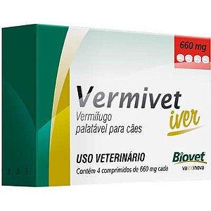 Vermífugo Vermivet Iver Cão 660Mg Caixa Com 4 Comprimidos