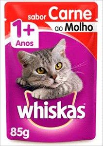 Sachê Whiskas Gato Adulto 1+ Carne Ao Molho 85g