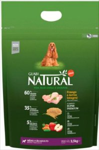 Ração Guabi Natural Cao Adulto Raça Média Frango E Arroz 2,5kg