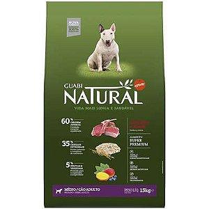 Ração Guabi Natural Cao Adulto Raça Média Cordeiro E Aveia 15kg