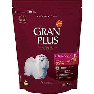 Ração Gran Plus Menu Cao Adulto Raça Pequena Carne E Arroz 3kg