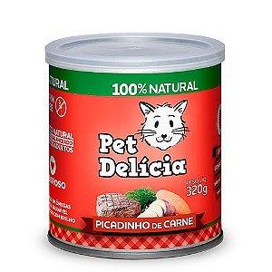 Lata Pet Delicia Gato Adulto Picadinho De Carne 320g
