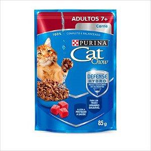 SACHE CAT CHOW GATO ADULTO 7+ CARNE 85G