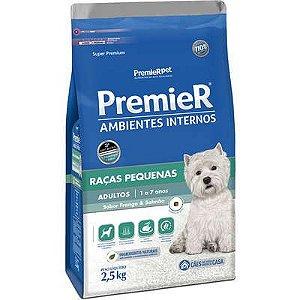 Ração Premier Ambientes Internos Cão Adulto Raça Pequena Frango e Salmão 2,5kg