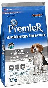 RAÇÃO PREMIER AMBIENTES INTERNOS LIGHT CAO ADULTO RAÇA PEQUENA FRANGO E SALMAO 2,5KG