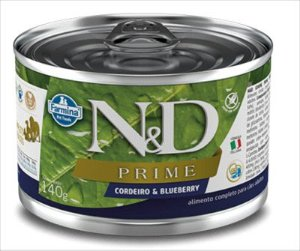 LATA N&D PRIME CÃO ADULTO CORDEIRO E BLUEBERRY 140G