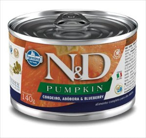 LATA N&D PUMPKIN CÃO ADULTO CORDEIRO ABOBORA E BLUEBERRY 140G