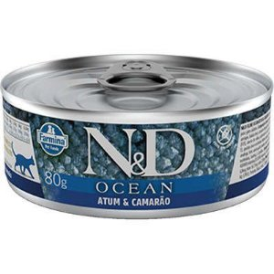 Lata N&D Ocean Gato Adulto Atum E Camarão 80g