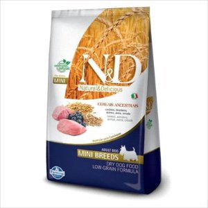 RAÇÃO N&D ANCESTRAL GRAIN CÃO ADULTO MINI BREEDS CORDEIRO E BLUEBERRY 2,5KG