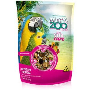 RAÇÃO MEGA ZOO PAPAGAIO TROPICAL MIX 700G