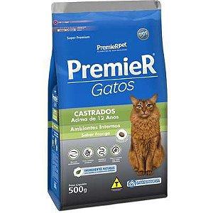 Ração Premier Ambientes Internos Gato Castrado +12 Anos Frango 500g