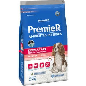 Ração Premier Ambientes Internos Cão Adulto Raça Pequena Dermacare 2,5kg