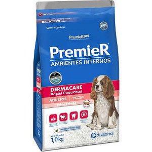 Ração Premier Ambientes Internos Cão Adulto Raça Pequena Dermacare 1kg