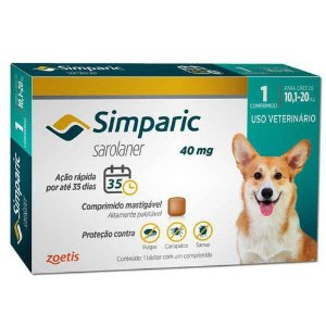 Antipulga Simparic 10,1 A 20kg 40mg Caixa Com 1 Comprimido