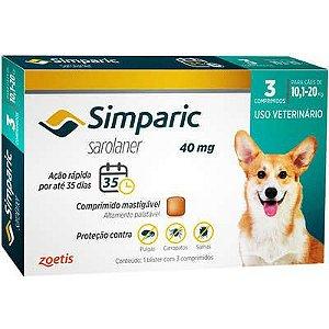 Antipulgas Simparic 10,1 A 20kg 40mg Caixa Com 3 Comprimidos
