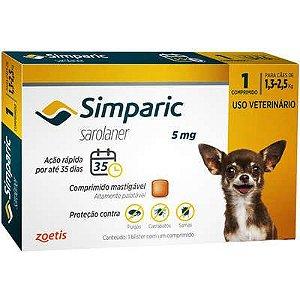 Antipulgas Simparic 1,3 A 2,5kg 5mg Caixa Com 1 Comprimido