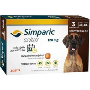 Antipulgas Simparic 40,1 A 60kg 120mg Caixa Com 3 Comprimidos