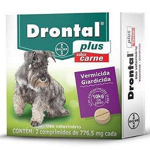 Vermifugo Drontal Plus Carne 10kg Caixa Com 2 Comprimidos