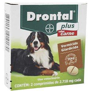 Vermifugo Drontal Plus Carne 35kg Caixa Com 2 Comprimidos
