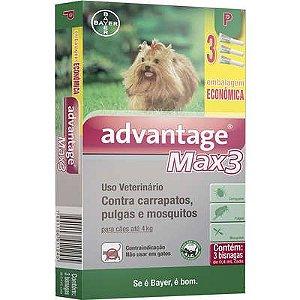 ANTIPULGA ADVANTAGE MAX3 ATE 4KG 0,4ML P CAIXA COM 3 BISNAGAS