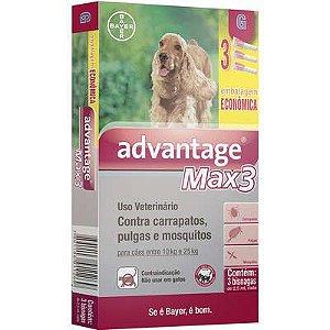 Antipulga Advantage Max3 10 A 25kg 2,5ml G Caixa Com 3 Bisnagas